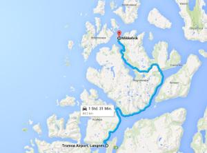 Transferstrecke zum Angelcamp in Mikkelvik bei Tromsø