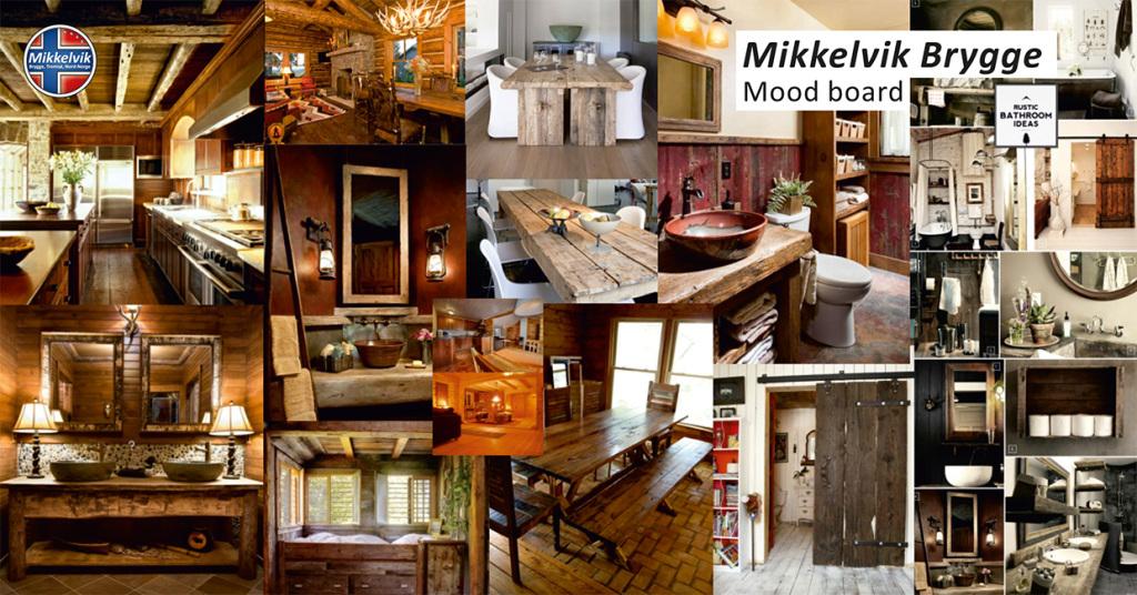 Stil- und Farbsammlung für die Inneneinrichtung der Gästewohnungen in Mikkelvik