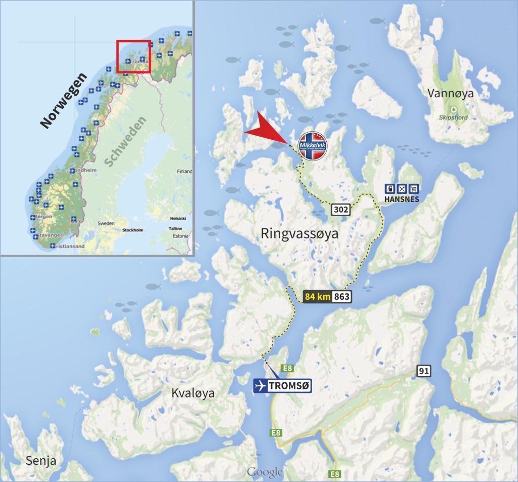Die Lage der Meeresangel-Anlage in Mikkelvik, nur 84 km entfernt von Troms